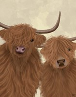 Highland Cow Duo, Looking at You Fine Art Print