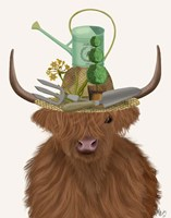 Highland Cow and Gardeners Hat Fine Art Print