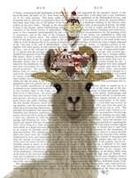Llama Ice Cream Hat Book Print Fine Art Print