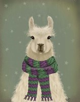 Llama with Purple Scarf, Portrait Fine Art Print