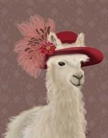 Llama Red Feather Hat Fine Art Print