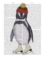 Penguin Ice Skating Book Print Fine Art Print
