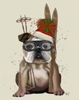 English Bulldog, Skiing Fine Art Print
