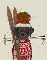 Black Labrador, Skiing Fine Art Print