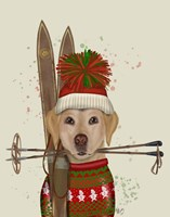 Yellow Labrador, Skiing Fine Art Print