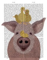 Pig and Ducklings Book Print Fine Art Print