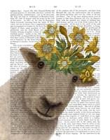 Sheep with Daffodil Crown Book Print Fine Art Print