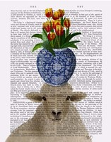 Sheep and Tulips Book Print Fine Art Print