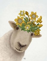 Sheep with Daffodil Crown Fine Art Print