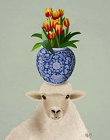 Sheep and Tulips Fine Art Print