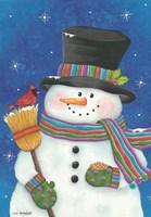 Snowman with Broom Fine Art Print