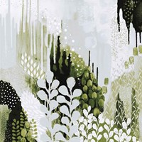BW Forest II with Green Fine Art Print