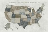 Slate US Map Fine Art Print