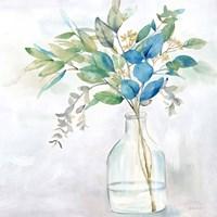 Eucalyptus Vase Navy I Fine Art Print