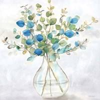 Eucalyptus Vase Navy II Fine Art Print