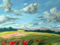 Scarlet Meadow Green Fine Art Print