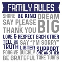 Family Rules II Blue Gray Fine Art Print