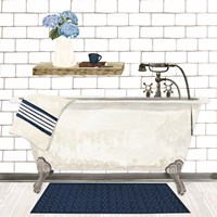 Farmhouse Bath I Navy-Tub Framed Print