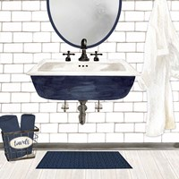 Farmhouse Bath II Navy-Sink Fine Art Print