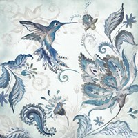 Watercolor Boho Blue Hummingbird I Fine Art Print