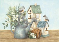 Watering Can and Chickadees Fine Art Print
