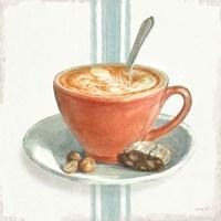 Wake Me Up Coffee III with Stripes Fine Art Print