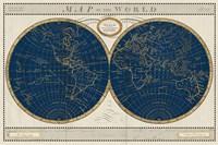 Torkingtons World Map Indigo Globes Fine Art Print