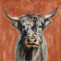 Highland Cow on Terracotta Fine Art Print