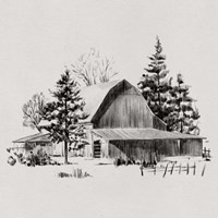 Distant Barn Sketch II Fine Art Print