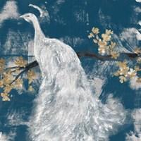 White Peacock on Indigo II Fine Art Print