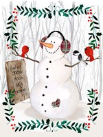 Folk Snowman Forest II Fine Art Print
