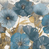 Blue and Gold Poppies I Fine Art Print