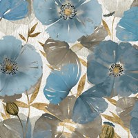 Blue and Gold Poppies II Fine Art Print