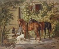 Horses at the Porch, 1843 Fine Art Print