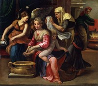 The Child's Bath, 16th century Fine Art Print