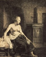 Half-Naked Woman by a Stove, 1658 Fine Art Print