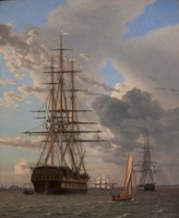 The Russian Ship of the Line Azov and a Frigate at Anchor in the Roads of Elsinore, 1828 Fine Art Print