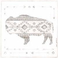Patterned Bison Framed Print