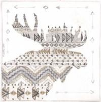 Patterned Moose Framed Print