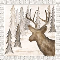 Deer w/ Border Framed Print