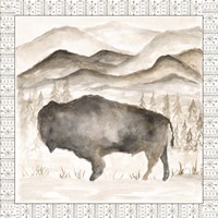 Bison w/ Border Fine Art Print