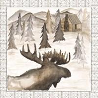 Moose w/ Border Framed Print