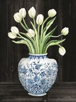 Blue and White Tulips Black I Fine Art Print