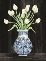 Blue and White Tulips Black II Fine Art Print