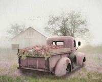 Pink Flower Truck Framed Print