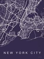 NYC Street Blue Map Fine Art Print
