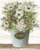 Flores Galvanized Bucket Fine Art Print