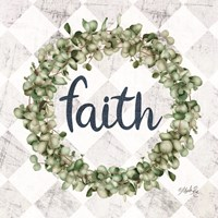 Faith Eucalyptus Wreath Fine Art Print