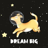 Dream Big Astronaut Dog Framed Print