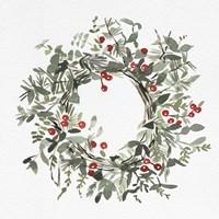 Holly Farmhouse Wreath I Fine Art Print